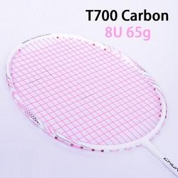 Rosa t700 raquetes de badminton de fibra de carbono com saco de corda raquete profissional super leve 8u raquete 65g-68g velocidade esportes padel