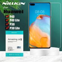 Huawei p40/p30/p20 lite vidro temperado nillkin 9 h protetor de tela de vidro de segurança para huawei companheiro 20 x 20x honra 20 pro 10 9x 8x|Protetores de tela de telefone| |  -