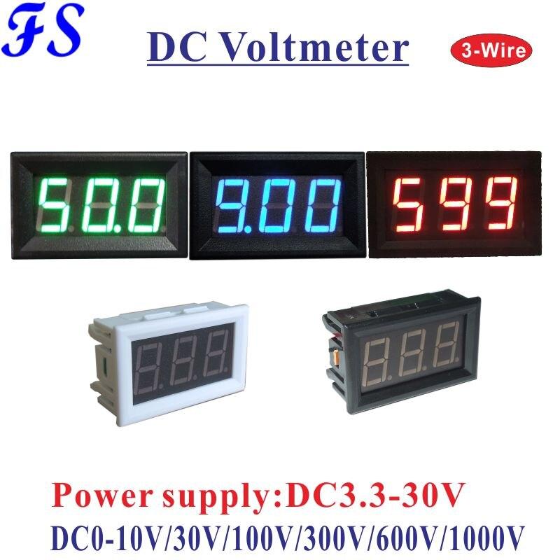 YB27 три провода светодиодный цифровой Напряжение Вольтметр постоянного тока 0-10V 30V 100V 300V 600V 1000V вольтметр Вольт Панель метр Напряжение тестер