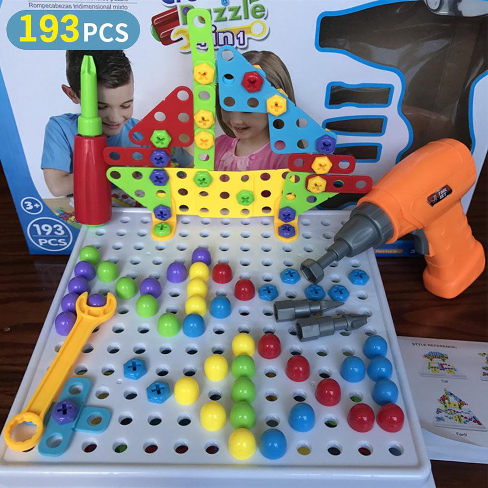149/151/193/шт., игрушка для мальчика, креативные Развивающие игрушки для детей, электрическая дрель, собранные винты, инструмент, мозаика, строительная игрушка - Цвет: WJ3370B