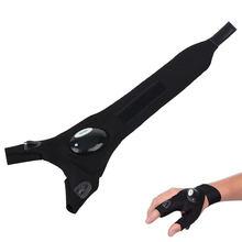 Latarka LED ic Strap rękawiczki bez palców z 2 diodami LED do naprawy i pracy w ciemnościach wędkarstwo kemping cześć tanie tanio Right Hand Glove Anti-slip Pół palca