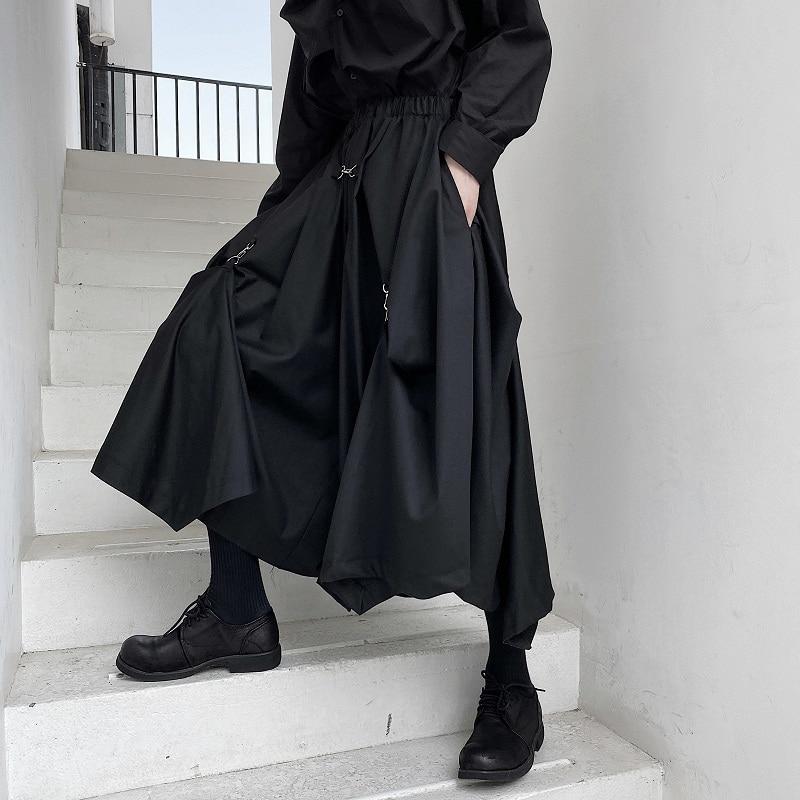 Men Buckle Adjustable Length Loose Casual Wide Leg Pants Male Japan Karajuku Style Streetwear Gothic Skirts Pants