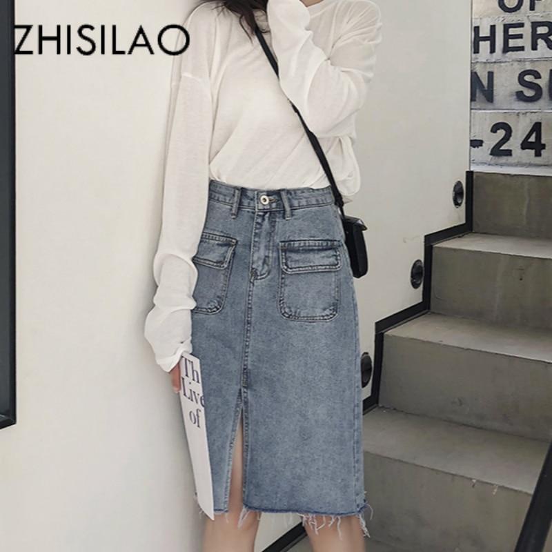 High Waist Mini Denim Skirt Women A-line Vintage Pencil Jeans Skirt Mujer Bodycon Retro Punk Skirt Summer 2020 Saia Jeans