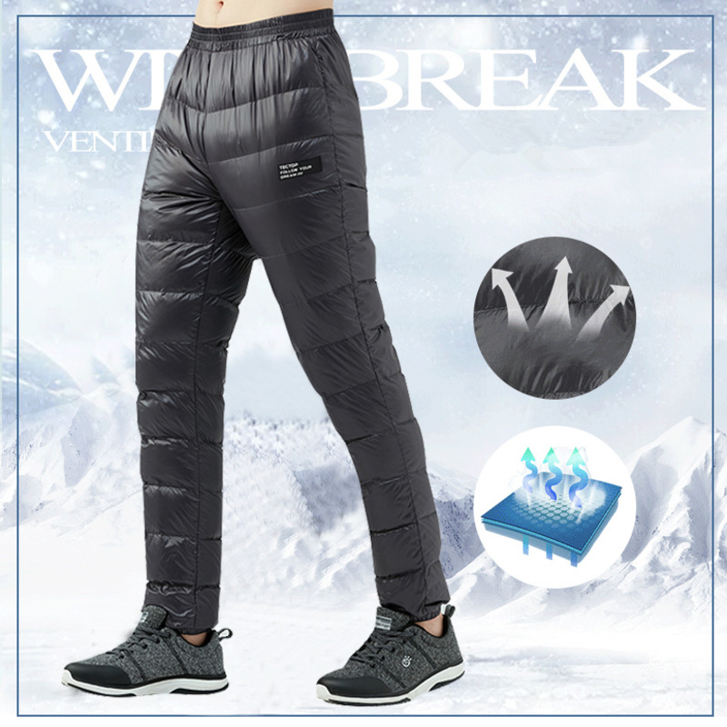 Winter Ultralight Duck Down Outwear Pants For Men Loose Down Pants Super Light Windproof Plus Size Warm Trousers About 0.25kg