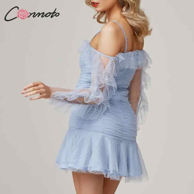 Conmoto 2019 зимнее сексуальное Сетчатое платье в стиле ретро женское Клубное платье Vintege синие мини-платья с оборками Vestidos