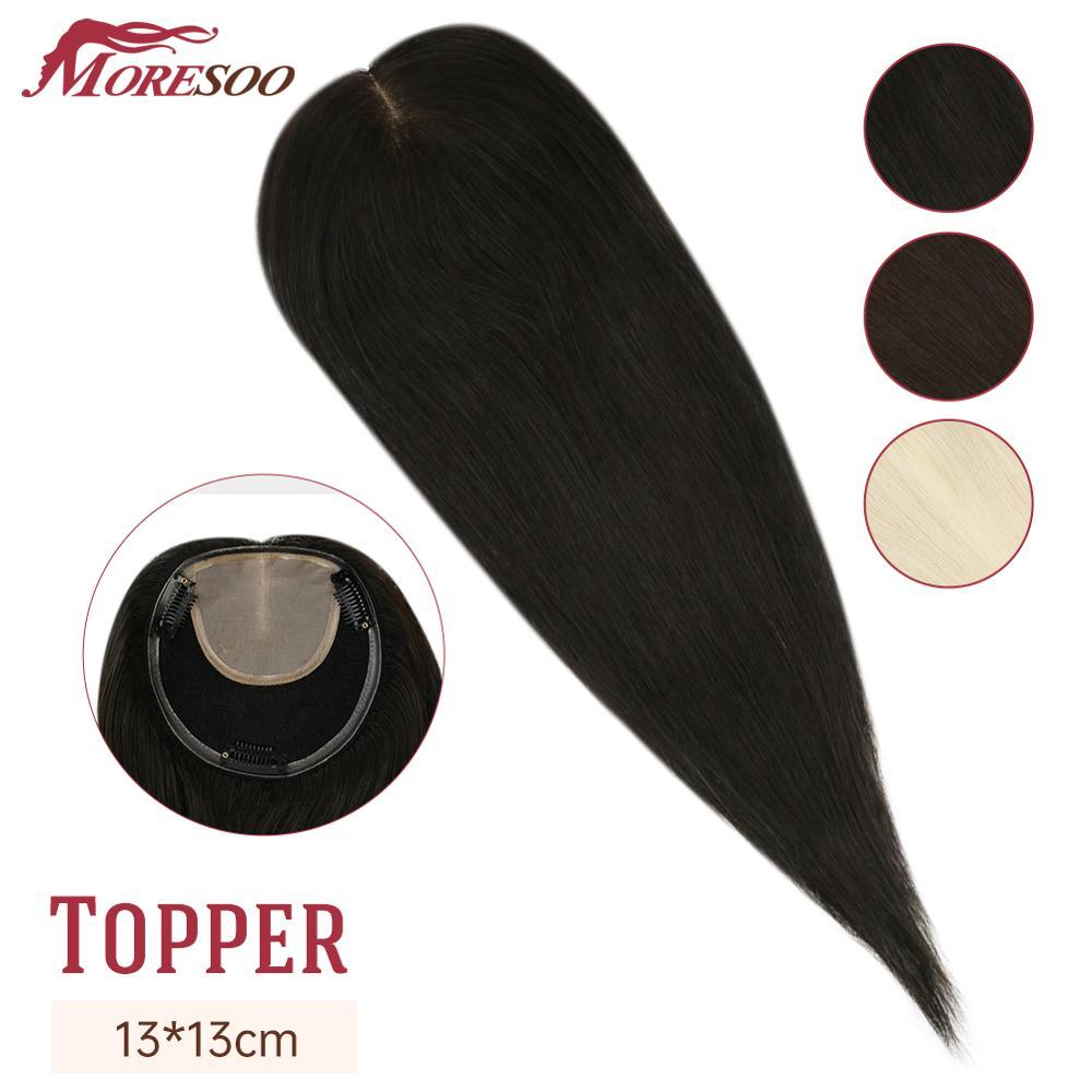 Toppers para Mulheres Natural em Linha Clipes em 13*13cm Moresoo Cabelo Reta Feminino Toupees Máquina Remy 8-18 Polegadas Real Humano