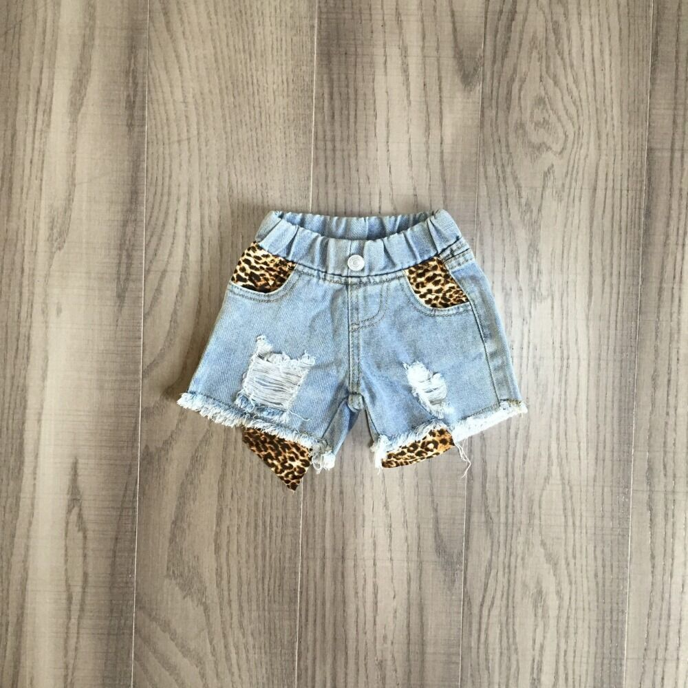 baby girls short jeans girls leopard shorts 1