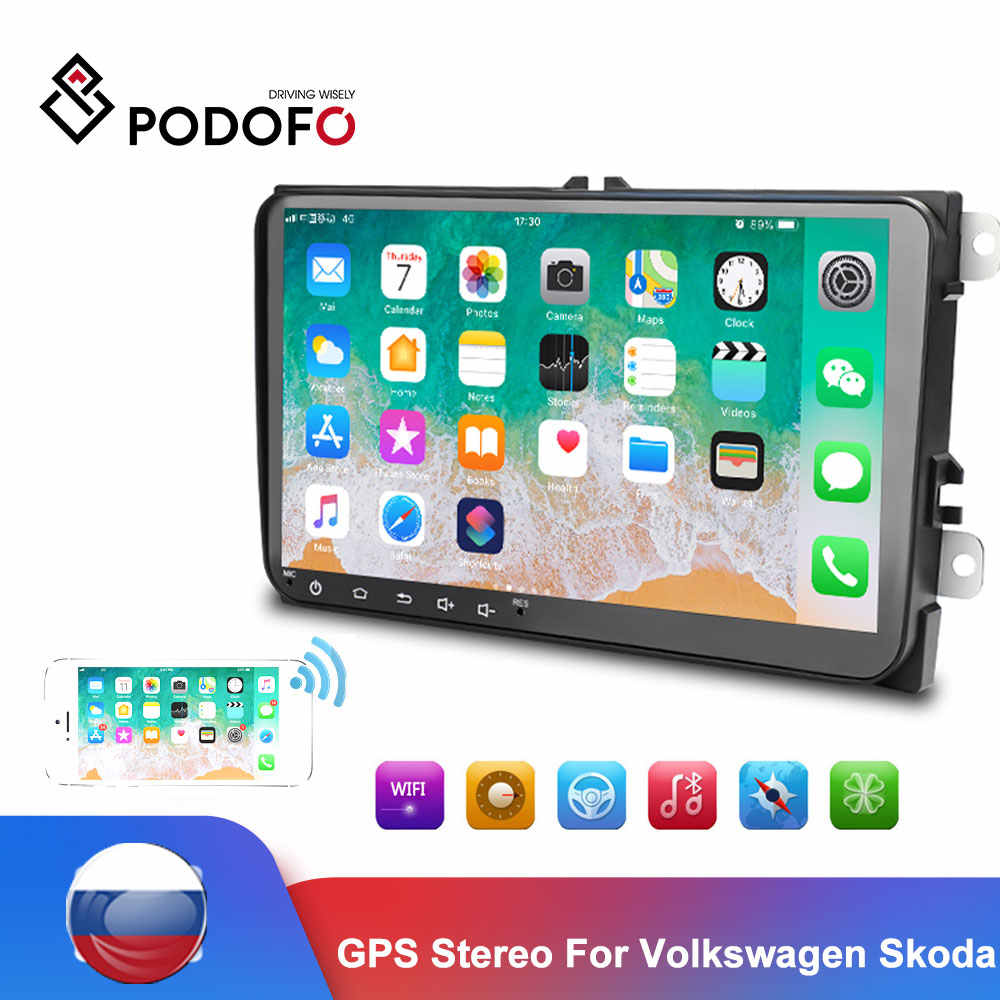 Podofo Android 2 Din Mobil radio Multimedia Player GPS Stereo Untuk Kursi Octavia golf 5 6 touran passat B6 MP5 plyaer Audio Stereo
