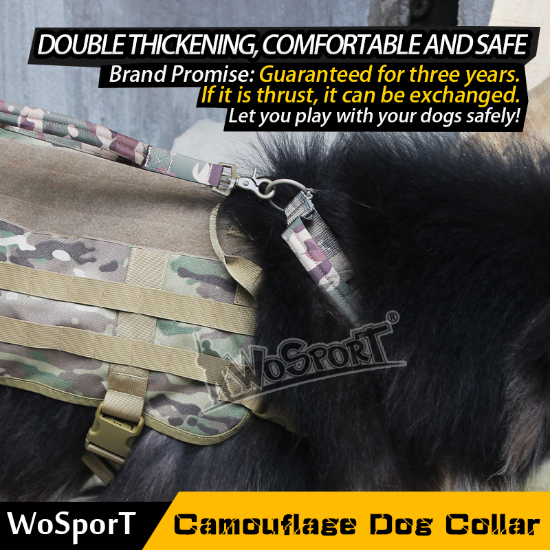 Wosport hot Tactical Dog Collar Pet Camouflage Drifting Tour Hiking Mountain Climbing Nylon Durable Adjustable Rope in Paintball Accessories from Sports Entertainment