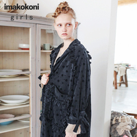 Coat female autumn and winter long section imakokoni original tide loose wild casual printed jacket 172226