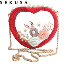 SEKUSA new design heart women evening bags knitted beaded ladies clutch bags with flower diamonds shoulder handbags(China)