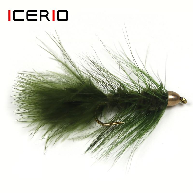 ICERIO 4PCS Latão Cone Cabeça Bugger lã Streamer Moscas Truta Fly Fishing Lure Bait