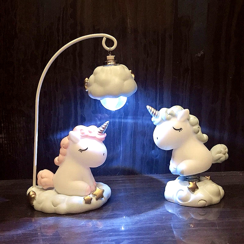 Cute Cartoon LED Night Light Home Decor Light Resin Unicorn Light Bedside Table Lamp For Baby Children Kids Girls Birthday Gift
