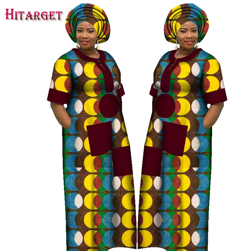 2018 Autumn Dress For Women Dashiki Custom Made African Printed Dresses Women Comfortable Loose Women African Clothing WY1226