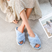Купить с кэшбэком OQC Women Winter Slippers Soft Warm Cotton Slipper Big Size Slippers Plush Women House Indoor Warm Fluffy Cotton Flats Shoes D30