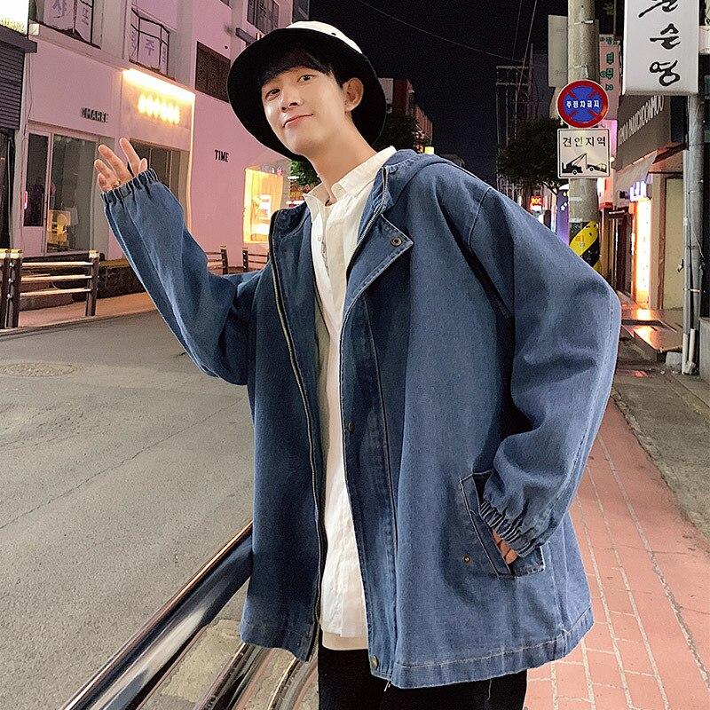 Denim Jacket Streetwear Autumn Men Fashion Casual New Hip-Hop Wash Man Solid Wild Loose
