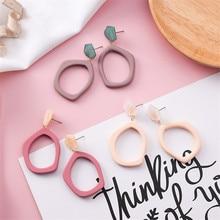 Acrylic Marble Irregular Geometry Woman Girls Dangle Drop Earrings Hyperbolic Korean Japan Fashion Jewelry-MSE