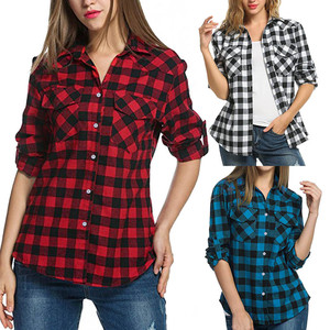 Tartan Plaid Flannel Women Shirts Blouse Womens Roll Up Sleeve Casual Button Down Blouse Women Tops And Blouses Woman 2020