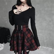 Black Checkered Women's Gothic Skirt Women Pleated Plaid Skirts