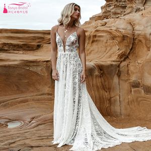 Image 4 - Dark Nude Lining Lace Wedding Dresses Modern Plunge V Neck Romantic Bridal Gowns Chic Vestido De Noivas ZW243