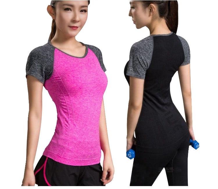 Quick Dry Stretch Slim Fit Yoga Tops Women Sport T Shirt Gym Jerseys Fitness Shirt Yoga Running T-shirts Female Sports Top Cloth