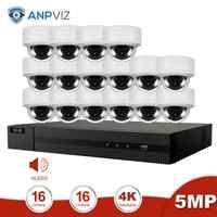 Anpviz 16CH 4K NVR 5MP Domo Audio/4X Optical POE IP Kit de cámara hogar/sistemas de seguridad al aire libre kit de videovigilancia NVR CCTV