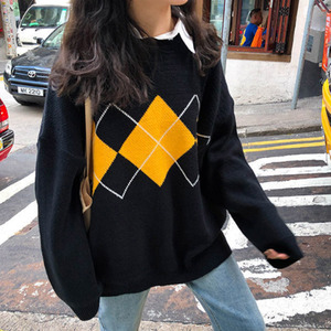 Argyle Printed Contrast Women's Sweaters Long Sleeve O-neck Warm Female Pullovers 2020 Autumn Winter Student Sweet Lady Sweater