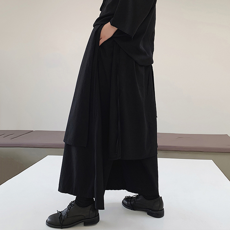 New Arrival Loose Dressed Wide Leg Baggy Trousers Male Black Casual Oversize Long Bottoms Mens Irregular Elastic Waist Pants