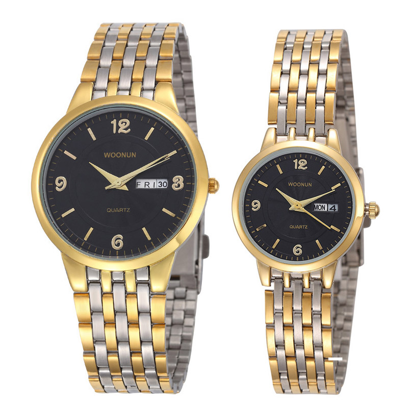 New Couple Watch Lovers Watches Waterproof Quartz Stainless Steel Date Day Watches Luxury Gold Watches Valentine's Day Present