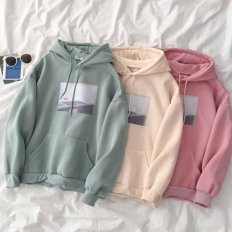 Winter Apring Student Thickening Sweatshirt Women Casual Oversize Harajuku Long Sleeve Hooded Pullover Female Pink Fashion Tops