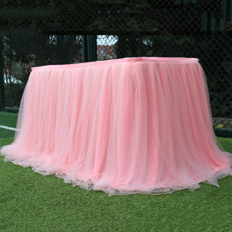 Wedding Party Tutu Tulle Table Skirt Tableware Cloth Baby Shower Party Home Decor Table Skirting Birthday Party 100x75cm