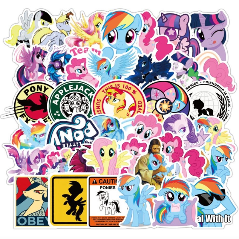 50 92pcs My Little Pony Stickers Cartoon Waterproof Car Stickers Suitcase Refrigerator Mobile Phone Computer Graffiti Sticker
