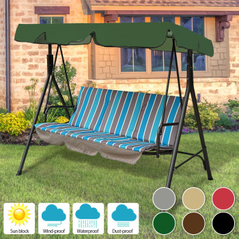 Waterproof Patio Swing Canopy Cover Replacement 3 Seater Garden Swing Canopy UV Sun Shade Case Outdoor