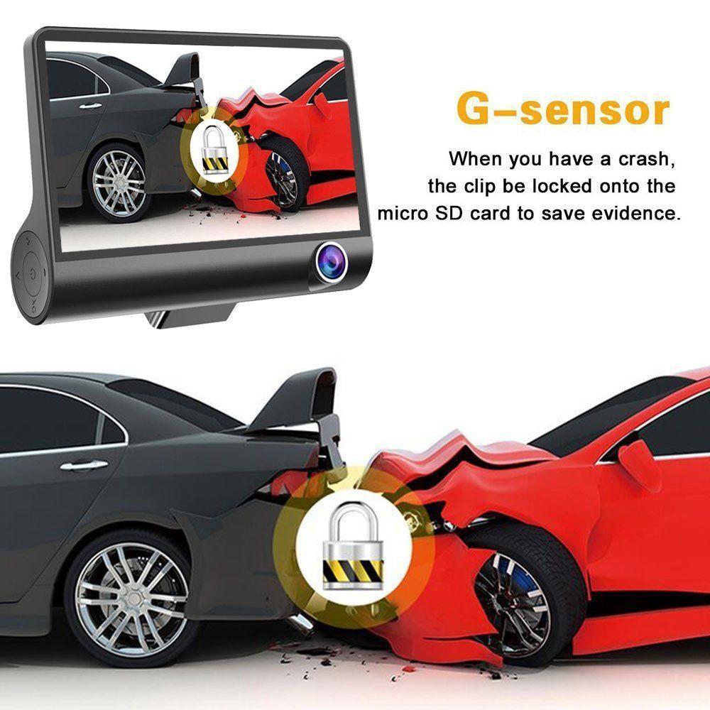 Podofo Auto Kamera 4'' Drei-weg Video Registrator 170 grad Weitwinkel Dash Cam Video Recorder G-sensor dashcam für Auto DVR cam