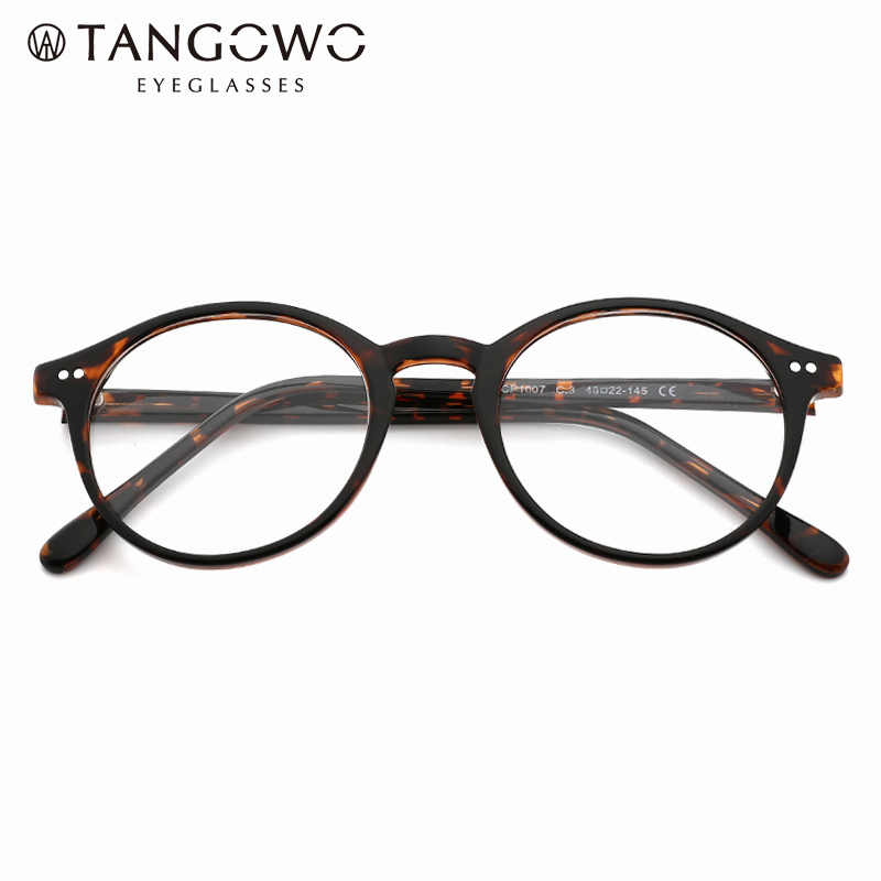 TANGOWO TR90 Round Glasses Frame Men Women Vintage Prescription Eyeglasses Frame Myopia Optical Spectacles Retro Eyewear