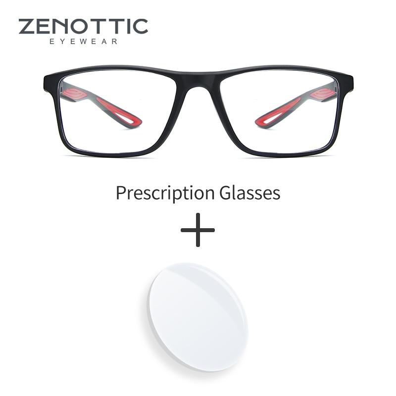 ZENOTTIC Brand Prescription Glasses Men Square Optical Eyewear Frame Anti Blue Light Photochromic Prescription Eyeglasses Male