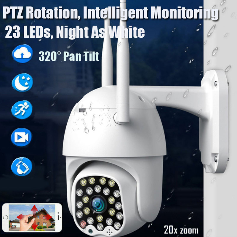 1080P PTZ IP Camera Wifi Outdoor Speed Dome Wireless Wifi Security Camera Pan Tilt 23 LED Light Network CCTV Surveillance IP Cam