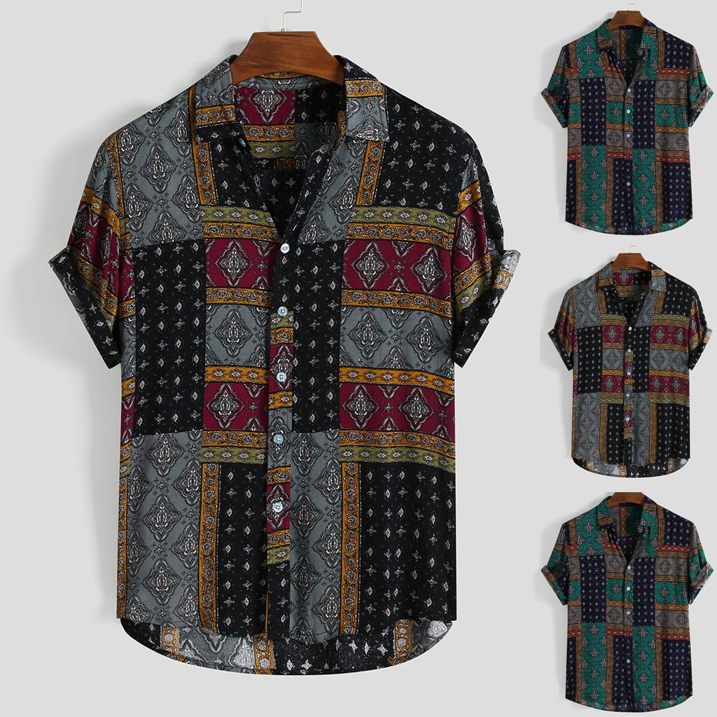 Womail Men Shirt Short-Sleeve Rayon-Button Ethnic-Style Printing Vintage Beach Summer title=