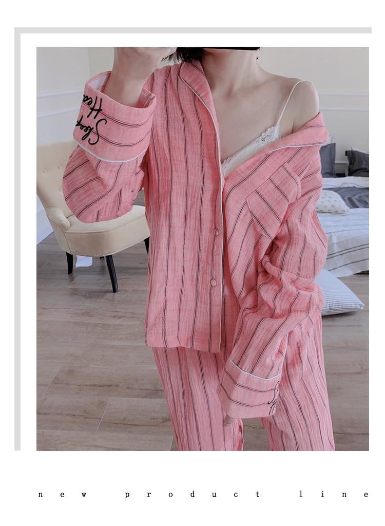 Harajuku Casual Pajama Set Underwear Kawaii Lingerie Sleepwear Autumn Winter Embroidery Long Sleeves Pajamas for Women Nightwear