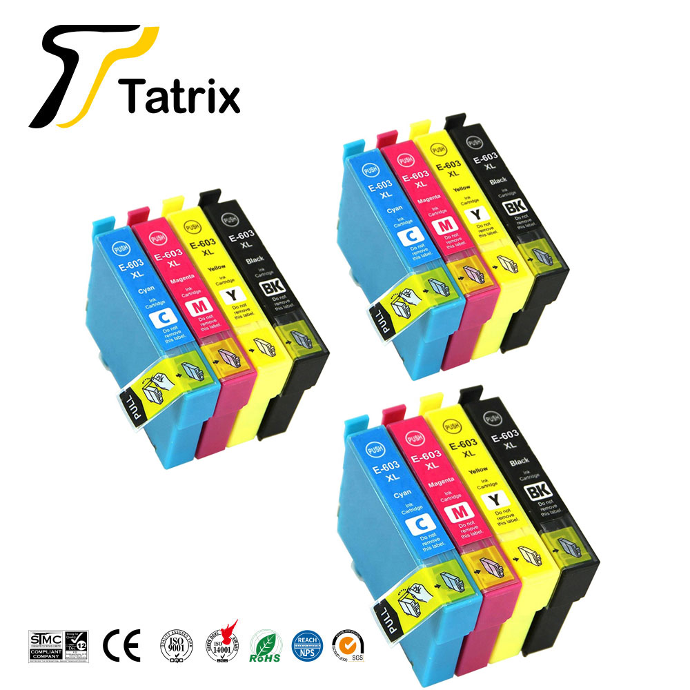 Tatrix 3 set 603XL T603 T603XL E-603XL compatible printer ink cartridge <font><b>EPSON</b></font> <font><b>XP</b></font>-<font><b>2100</b></font> <font><b>XP</b></font>-2105 <font><b>XP</b></font>-3100 <font><b>XP</b></font>-3105 <font><b>XP</b></font>-4100 <font><b>XP</b></font>-4105 image