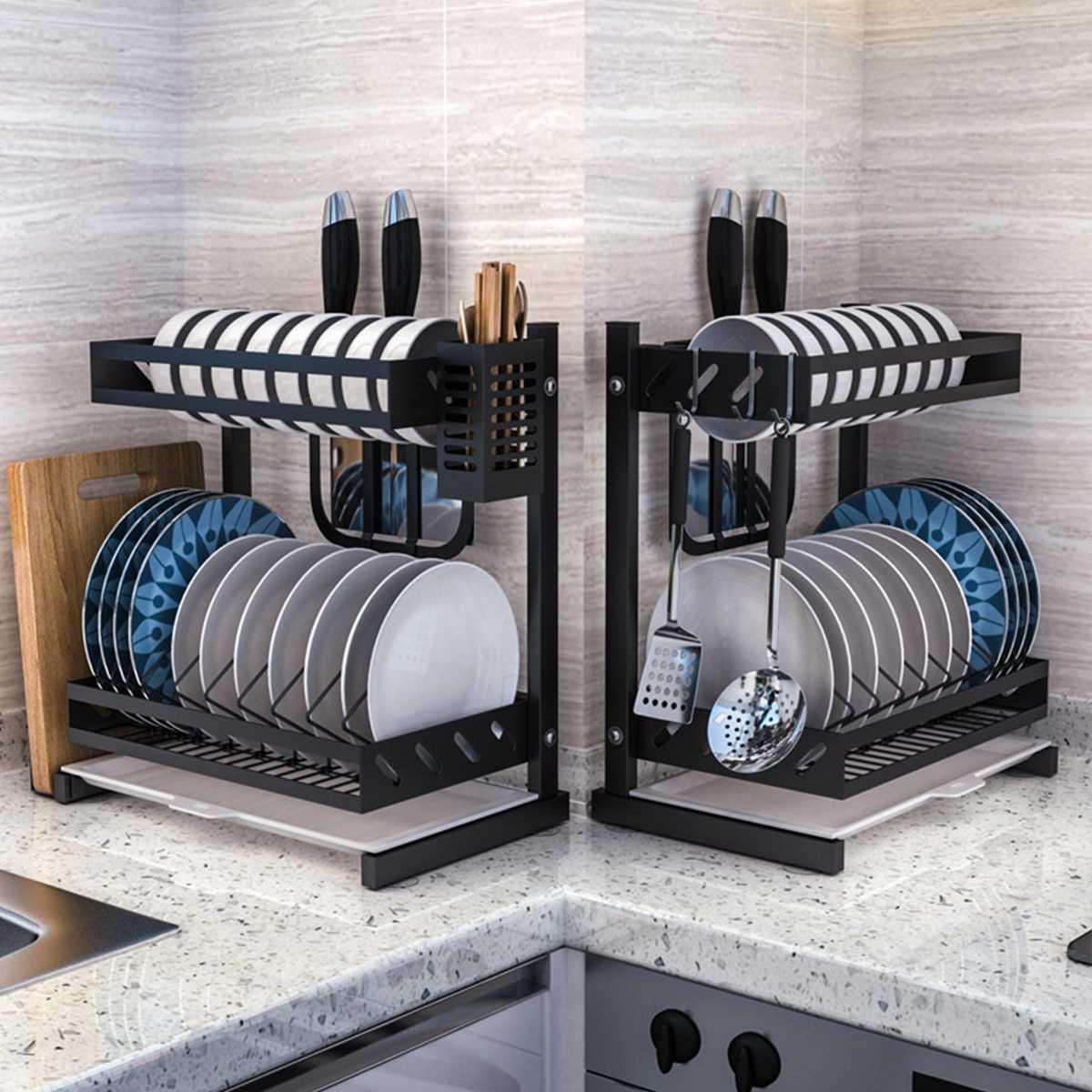 2 3 Layers Kitchen Shelf Organizer Dish Drying Rack Over Sink Utensils Holder Bowl Dish Draining Shelf Kitchen Storage Organizer Buy At The Price Of 58 99 In Aliexpress Com Imall Com