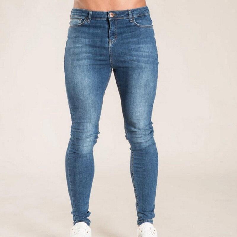 Men Casual Jeans Fashion Washed Denim Pants Hip Hop Streetwear Pant Slim Fit Stretch Biker Jean Male Pencil Denim Trouser
