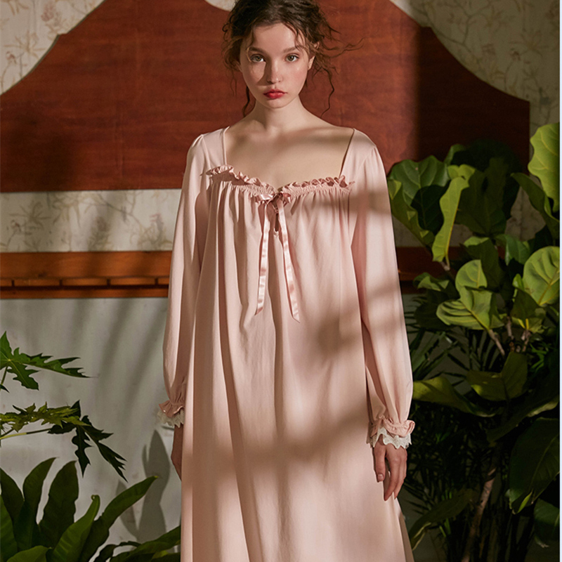 Nightgowns     Sleepshirt   Woman Autumn Long Sleeve Home Clothing Dress Cotton Sleepwear Nighty Sweet Princess Vintage Night Gown