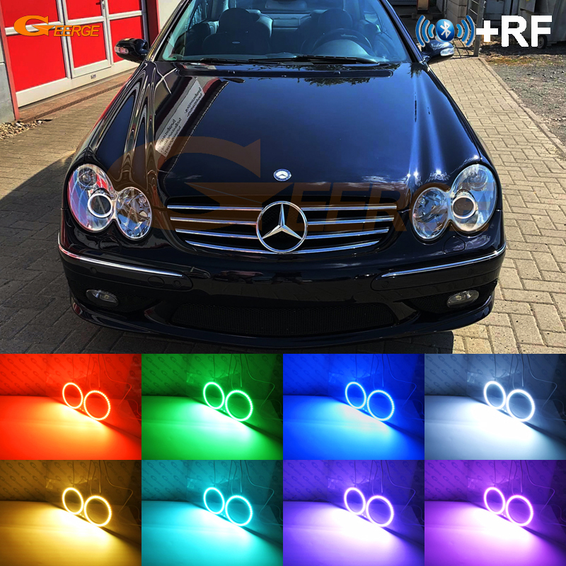 RF Remote Bluetooth APP Multi-Color RGB Led Angel Eyes Kit For Mercedes Benz CLK CLASS W209 C209 A209 2003-2006 Xenon Headlight