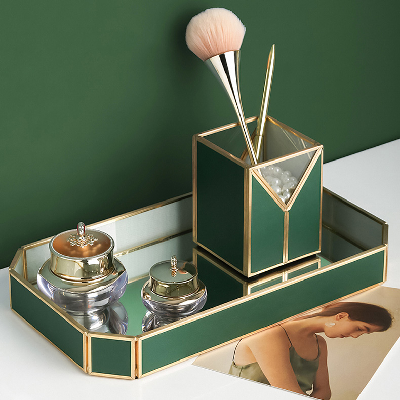Light luxury dark green leather tissue box, plexiglass cosmetic storage box