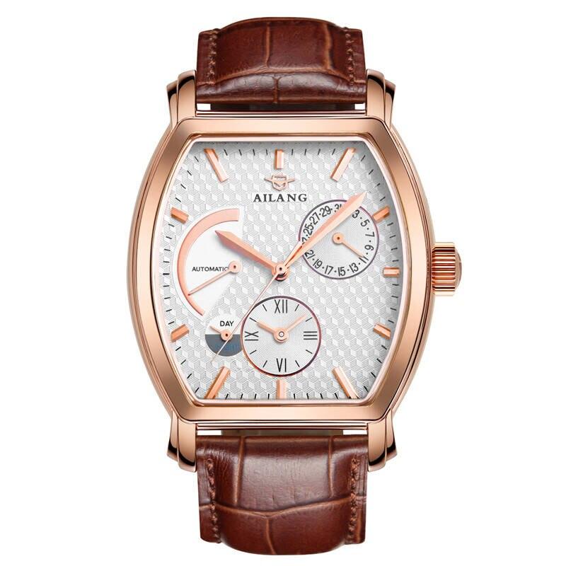 AILANG 5810 suisse montres hommes marque de luxe automatique mécanique 21 bijoux Tonneau montre or rose mode ceinture en cuir