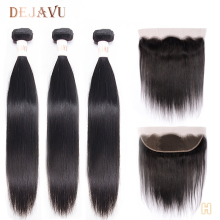 Dejavu Straight Human Hair 3 Bundles With Frontal Brazilian Hair 13*4 Lace Frontal Closure With Bundles Non Remy Hair Extension