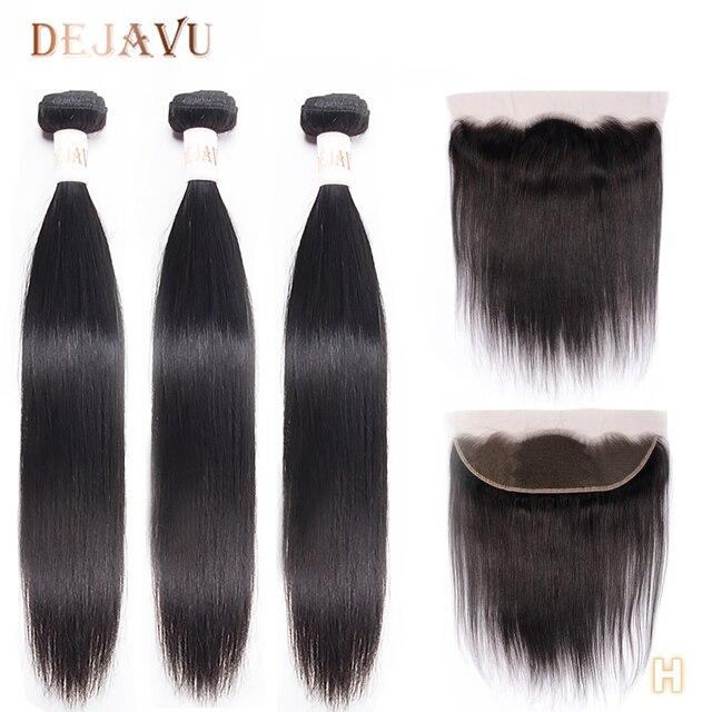 Dejavu cheveux humains droits 3 paquets avec cheveux brésiliens frontaux 13*4 fermeture frontale en dentelle avec faisceaux Extension de cheveux non remy