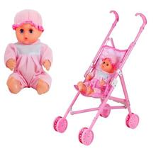 RCtown Infant Doll Stroller Carriage Foldable with Doll for 12inch Doll Mini Stroller Toys