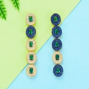 Image 3 - GODKI boucles doreilles pour femmes, boucles doreilles de luxe en forme de goutte deau, en Zircon cubique, de dubaï, indien, tendance, pour mariage